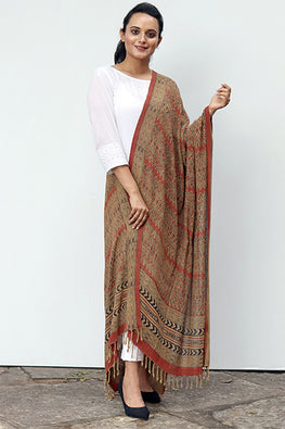 Creative Bee 'PUA' Natural Dye Block Print Silk Dupatta