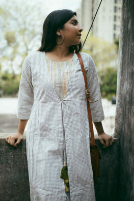 White kurta with tassles-1