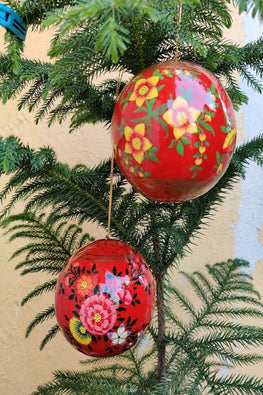 Kashmiri Art Xmas Decorations - Set of 2