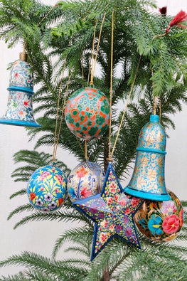 Kashmiri Art Xmas Decorations - Set of 7