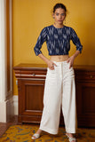Okhai 'Mizzle' Hand Embroidered Mirror Work Pure Cotton Ikat Crop Top