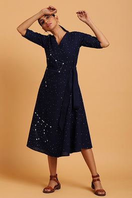Okhai Constellations Embroidered V Neck Indigo Wrap Dress For Women Online