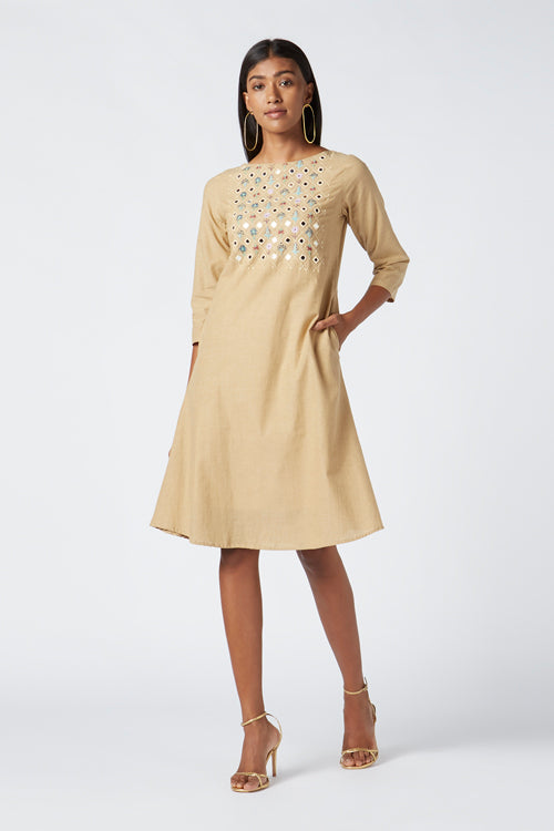 Okhai 'Rethi' Embroidered Cotton Handloom Dress