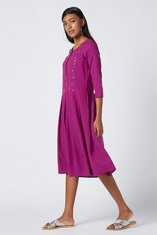 Okhai 'Amour' Embroidered Cotton Handloom Dress