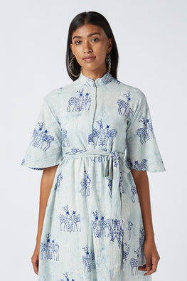 Okhai Moonlit Safari Mirror Work Embroidery Cotton Dress For Ladies Online
