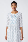 Lyra Embroidered Cotton Dress For Ladies White Cotton Dress Online