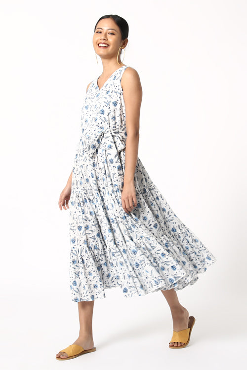 Okhai Delight Cotton Sleeveless Long Dress For Women Online