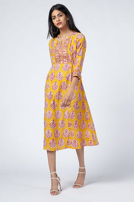 Okhai 'Akira' Cotton Hand Block Print Dress