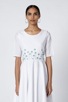 Okhai Dove Cotton White Embroidered Dress For Women Online