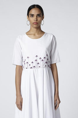 Okhai Feather Cambric Cotton Embroidered White Dress For Ladies Online