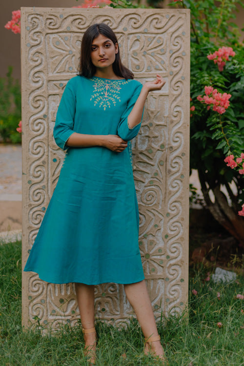 Okhai 'Paradise' Embroidered Cotton Dress