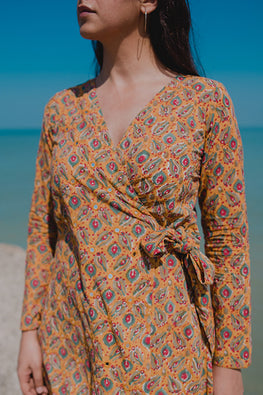 Okhai Grace Cotton Hand Block Printed Mirror Work Dress Online