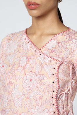 Okhai Blush Hand Embroidered Angarkha Mirror Work Dress For Women Online