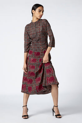 Okhai 'Royal' Appliqué Cotton Ajrakh Dress