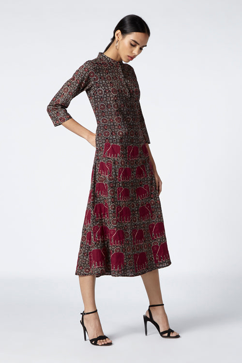 Royal Hand Block Printed Ajrakh Cotton Mandarin Collar Dress For Women Online