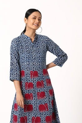 Okhai Euphoric Hand Block Printed Cotton Applique Work Dress For Women Online