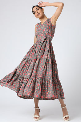 Happy Vines Hand Block Printed Pure Cotton Summer Dress For Women Online