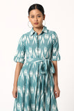 Okhai Aquamarine Cotton Ikat Dress For Women Online