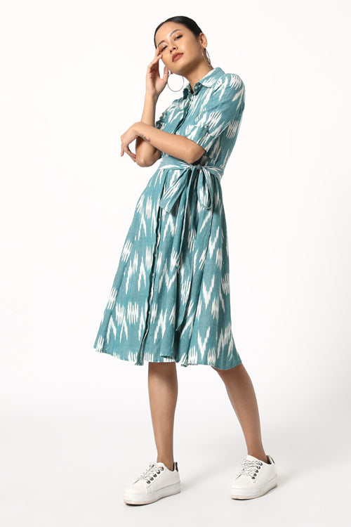 Okhai 'Aquamarine' Cotton Ikat Dress
