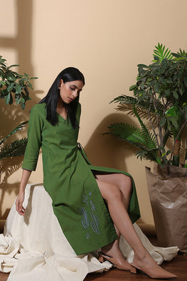 Okhai 'Herbal' Hand Embroidered Pure Cotton Dress