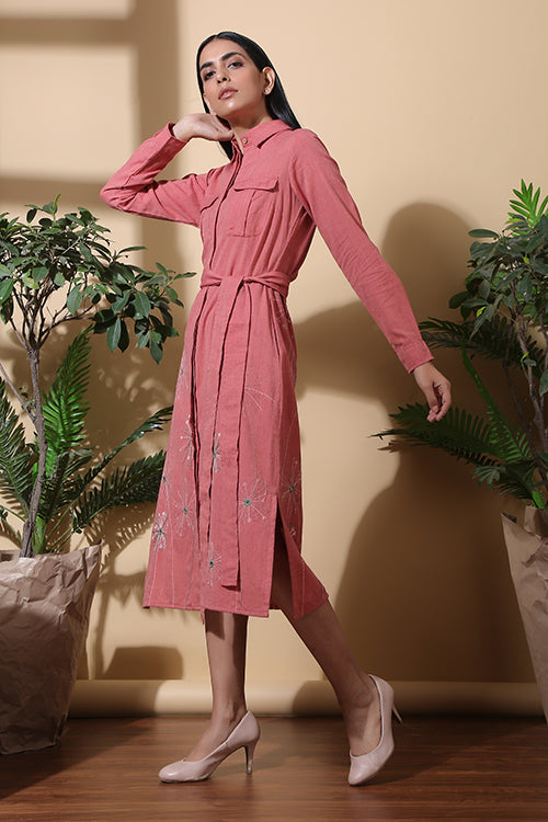 Okhai 'Bloom' Hand Embroidered Pure Cotton Dress