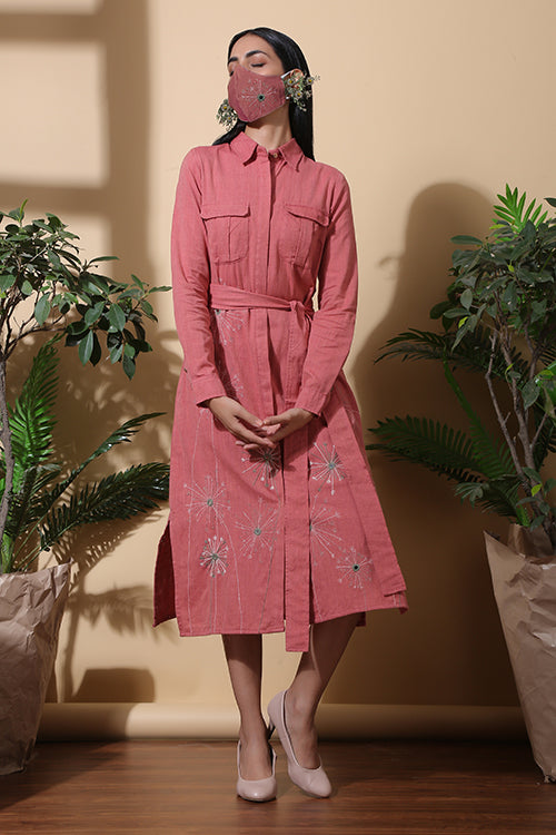Okhai Bloom Hand Embroidered Handloom Pure Cotton Dress For Women Online