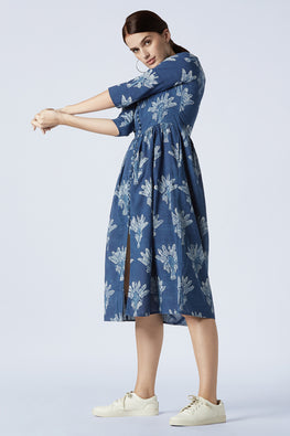 Okhai 'Joy-Pod' Cotton Indigo Dhabu Dress