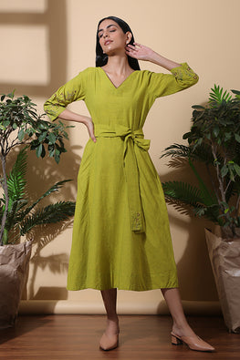 Okhai Willow Hand Embroidered Pure Cotton Long Dress Online For Women