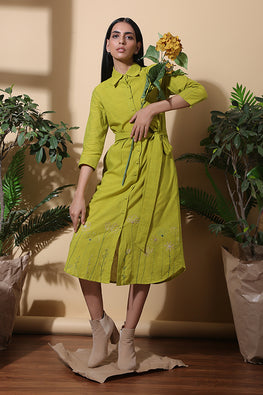 Meadow Hand Embroidered Pure Cotton Dress For Ladies Online