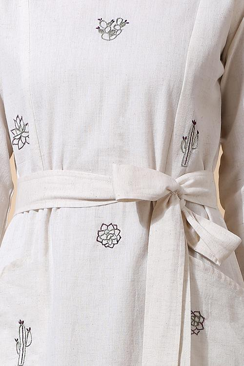 Okhai 'Leaves' Hand Embroidered Pure Cotton Dress