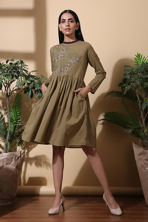 Okhai Tropical Hand Embroidered Pure Cotton Dress For Women Online