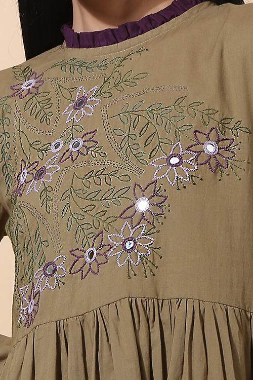 Okhai 'Tropical' Hand Embroidered Pure Cotton Dress
