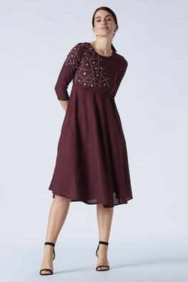 Taahira Embroidered Pure Cotton Maroon Dress For Women Online