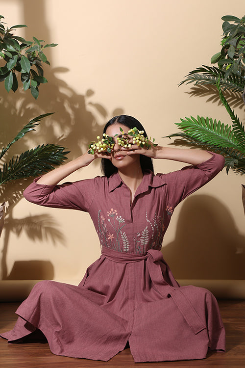 Okhai 'Fern' Hand Embroidered Pure Handloom Cotton Dress