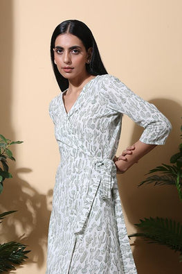 Okhai 'Oasis' Hand Block Printed Pure Cotton Wrap Dress