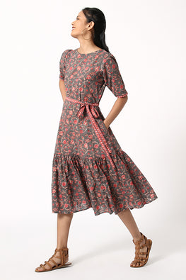 Okhai 'Damsel' Pure Cotton Hand Block Printed Dress