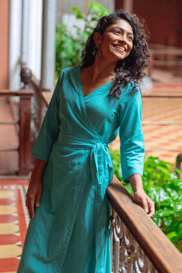 Okhai 'Aquaflora' Pure Cotton Handloom Wrap Dress