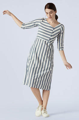 Okhai 'Fossil' Pure Cotton Striped Dress