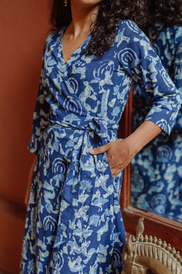 Okhai 'Parijaat' Pure Cotton Indigo Hand Block Printed Wrap Dress