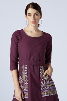 Okhai 'Brunette' Hand Embroidery Pure Cotton Dress