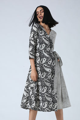 Okhai 'Chanchal' Hand Block Cotton Mirror Work Wrap Dress