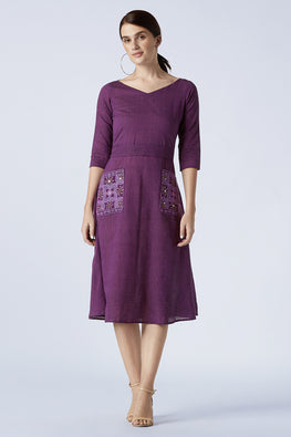 Okhai 'Sugar Plum' Hand Embroidery Mirror Work Cotton Dress