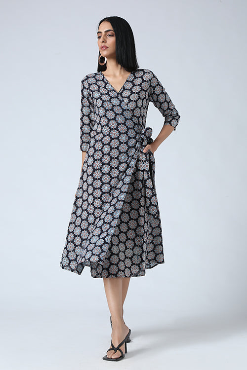 Okhai 'Stardust' Mirror Work Cotton Ajrakh Wrap Dress