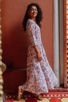 Okhai 'Bakula' Cotton Hand Block printed Dress