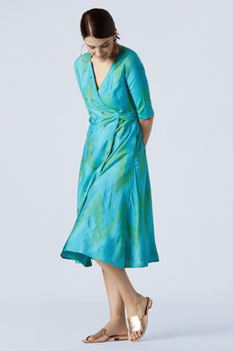 Okhai 'Opal' Silk Ikat Blend Wrap Dress