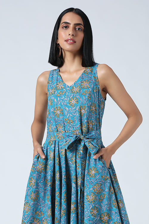 Okhai 'Delilah' Hand Block Printed Pure Cotton Sleeveless Dress