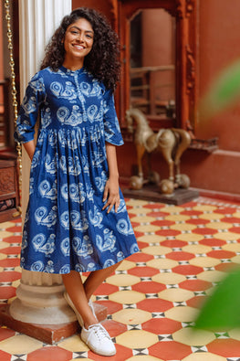 Okhai 'Mynah' Mirror Work Cotton Handblock Printed Dress
