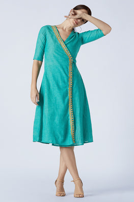 Okhai 'Mia' Embroidery Mirror Work Pure Cotton Wrap Around Dress