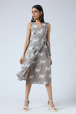 Okhai 'Shibori' Pure Cotton Handblock Printed Mirror Work Warp Dress