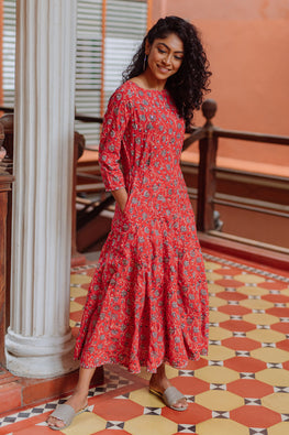 Okhai Meera Pure Cotton Mirror Work Dress For Valentine Online